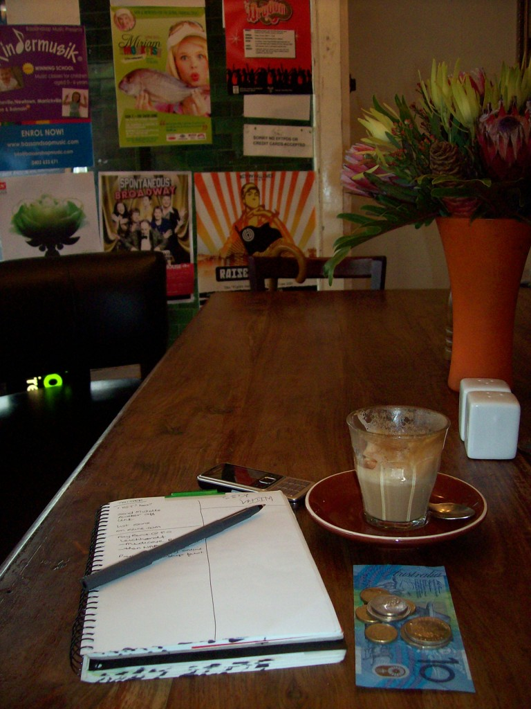 Enjoying my cafe latte at Piccolo Padre Cafe in Leichhardt, Sydney