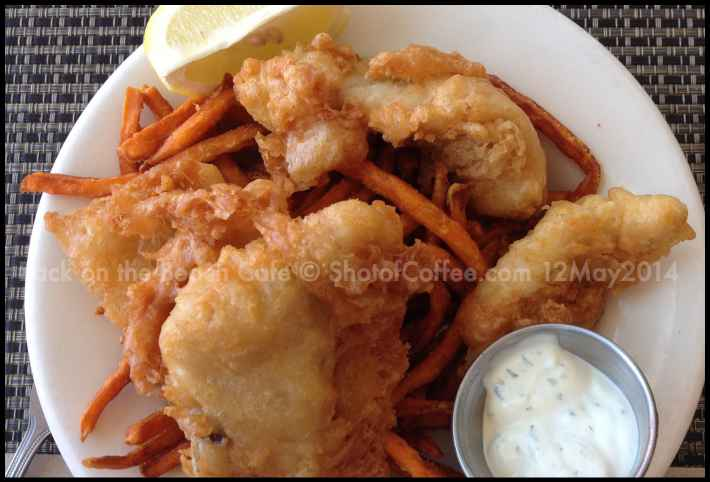 Fish and sweet potato chips at Back on the Beach Cafe Santa Monica