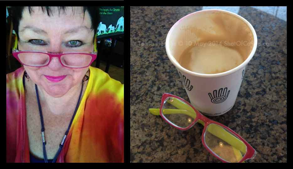 Teena drinking Peets Coffee in Brentwood - a triple shot