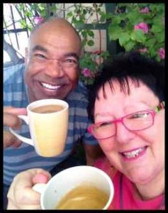 Teena and Gordon having coffee 6 May 2014